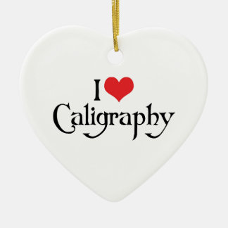 I Love Heart Calligraphy Ceramic Ornament