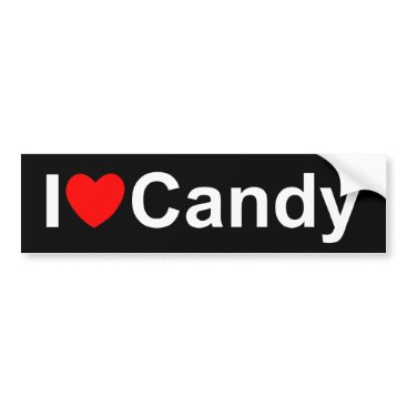 Valentines Themed I Love (Heart) Candy Bumper Sticker