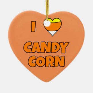 I LOVE (Heart) Candy Corn Ceramic Ornament