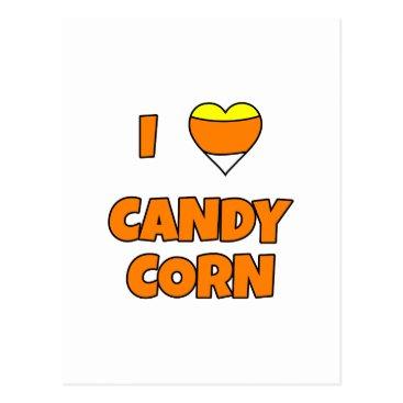 Halloween Themed I LOVE (Heart) Candy Corn Postcard
