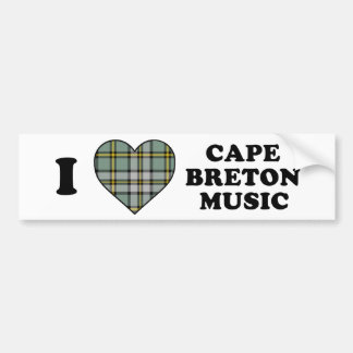 I Love Heart Cape Breton Music Tartan Bumper Stickers