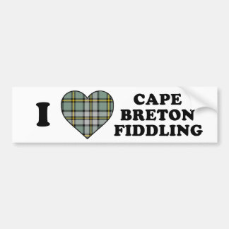 I Love Heart Cape Fiddling Tartan Bumper Sticker