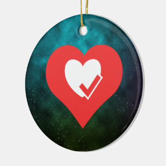 I Love Heart Check Ups Cool Symbol Double-Sided Ceramic Round Christmas Ornament