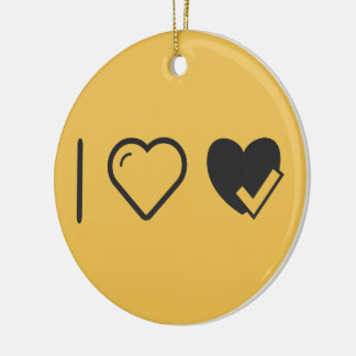 I Love Heart Check Ups Double-Sided Ceramic Round Christmas Ornament