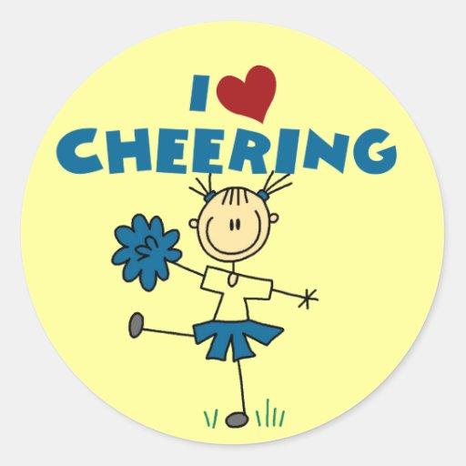 I Love (Heart) Cheering Classic Round Sticker