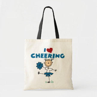 I Love (Heart) Cheering Tote Bags