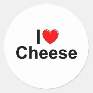 I Love (Heart) Cheese Classic Round Sticker