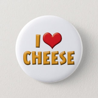 I Love Heart Cheese - Dairy Lover Pinback Button