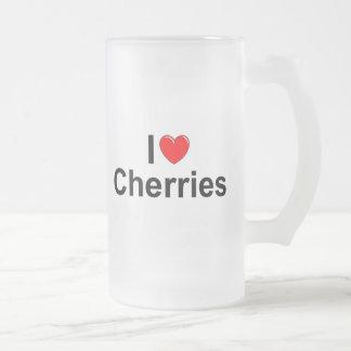 I Love (Heart) Cherries Frosted Glass Beer Mug