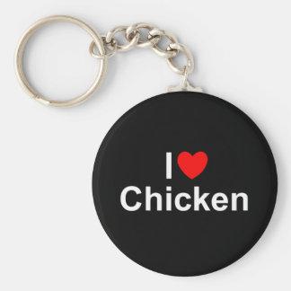 I Love (Heart) Chicken Basic Round Button Keychain