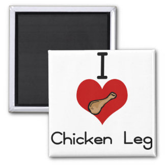 I love-heart chicken legs 2 inch square magnet