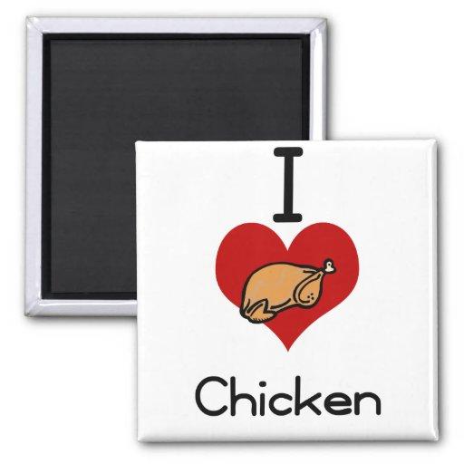 I love-heart chicken magnets