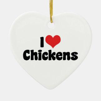 I Love Heart Chickens - Chicken Lover Ceramic Ornament