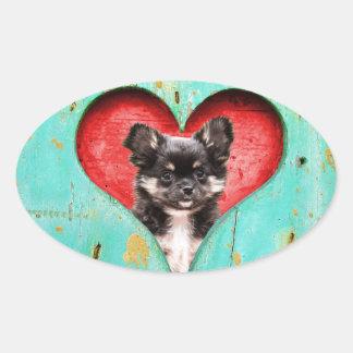 I Love Heart Chihuahua Dog Oval Sticker