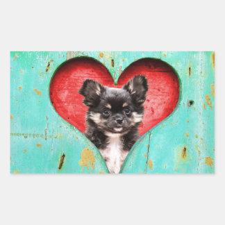 I Love Heart Chihuahua Dog Rectangular Sticker