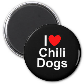 I Love (Heart) Chili Dogs 2 Inch Round Magnet
