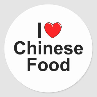 I Love (Heart) Chinese Food Classic Round Sticker
