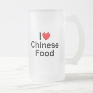 I Love (Heart) Chinese Food Frosted Glass Beer Mug