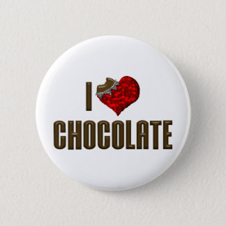 I Love Heart Chocolate - Candy Bar Cocoa Lover Pinback Button