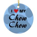 I Love (Heart) Chow Chow Pawprint Ceramic Ornament