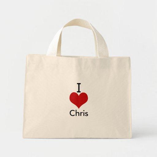 I Love (heart) Chris Canvas Bags