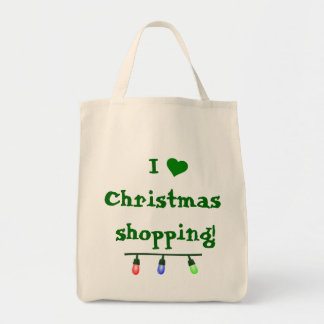 I Love (heart) Christmas Shopping Grocery Tote Bag