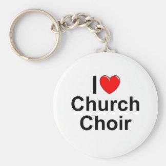 I Love (Heart) Church Choir Basic Round Button Keychain