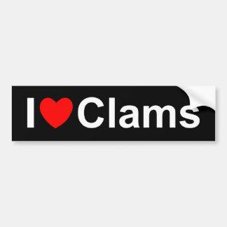 I Love (Heart) Clams Car Bumper Sticker