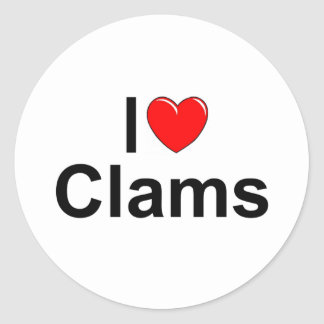 I Love (Heart) Clams Classic Round Sticker