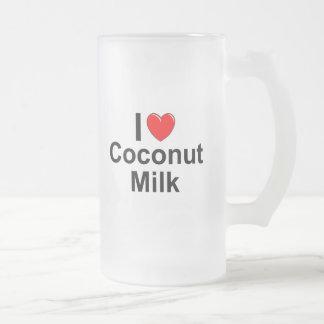 I Love Heart Coconut Milk Frosted Glass Beer Mug