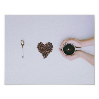 I LOVE HEART COFFEE COFFEEBEANS RIDDLE PHOTOGRAPHY POSTER