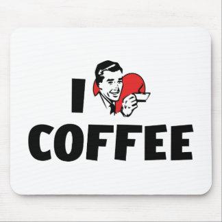 I Love Heart Coffee - Java Caffeine Lover Mouse Pad