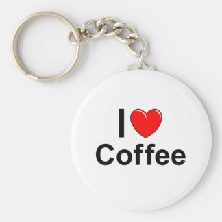 I Love Heart Coffee Keychain