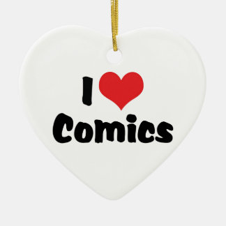 I Love Heart Comics - Comic Book Lover Ceramic Ornament