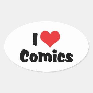 I Love Heart Comics - Comic Book Lover Oval Sticker