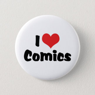 I Love Heart Comics - Comic Book Lover Pinback Button