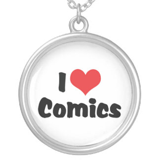 I Love Heart Comics - Comic Book Lover Silver Plated Necklace