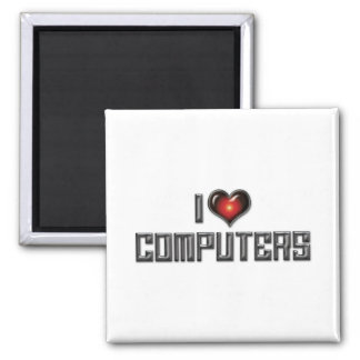 I Love Heart Computers - Electronics Lover Magnet