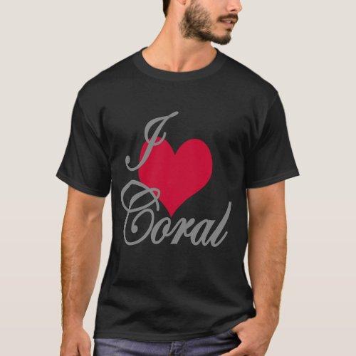 I Love Heart Coral Dark T_Shirt