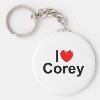 I Love (Heart) Corey Keychain