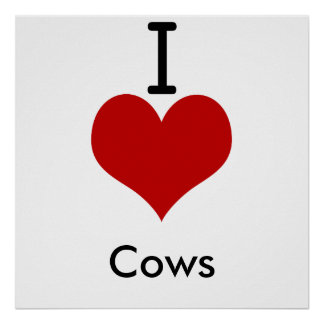 I Love (heart) Cows Posters