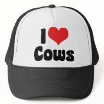I Love Heart Cows Trucker Hat