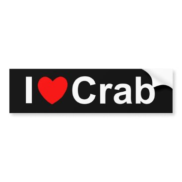 Valentines Themed I Love (Heart) Crab Bumper Sticker