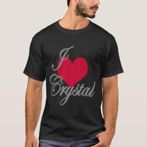 I Love Heart Crystal Dark T_Shirt