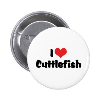I Love Heart Cuttlefish Pinback Button