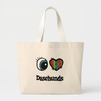 I Love (Heart) Daschunds Jumbo Tote Bag