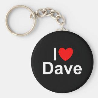 I Love (Heart) Dave Basic Round Button Keychain
