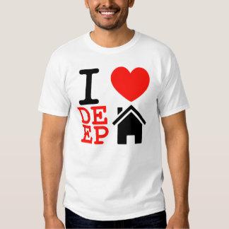 I love heart deep house music dj t shirt
