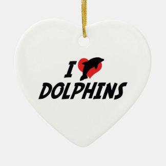 I Love Heart Dolphins - Dolphin Lover Ceramic Ornament