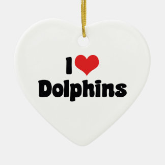 I Love Heart Dolphins - Dolphin Lover Ceramic Ornament